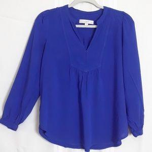 Loft popover long sleeve vibrant blue top size MP